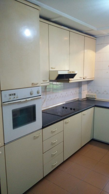 Before: kitchen cabinets in 30 year old apartment in Bangsar