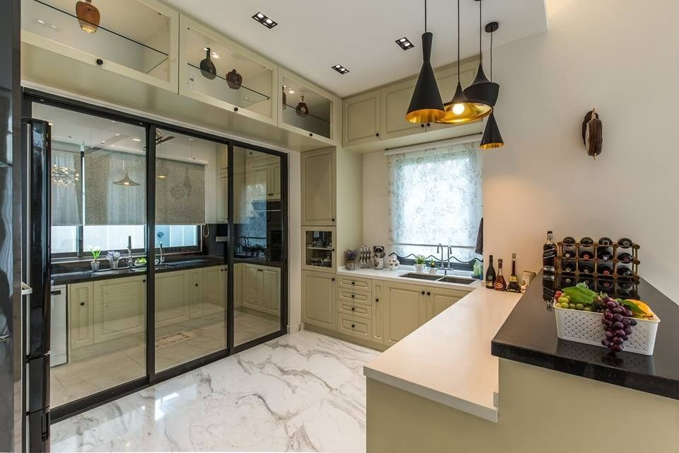 Behind The Sliding Glass Doors, The Wet Kitchen Is Done Up Using A Dark  Engineered Quartz Countertop, With Simple Beige Floor Tiles For Easy  Cleaning After ...
