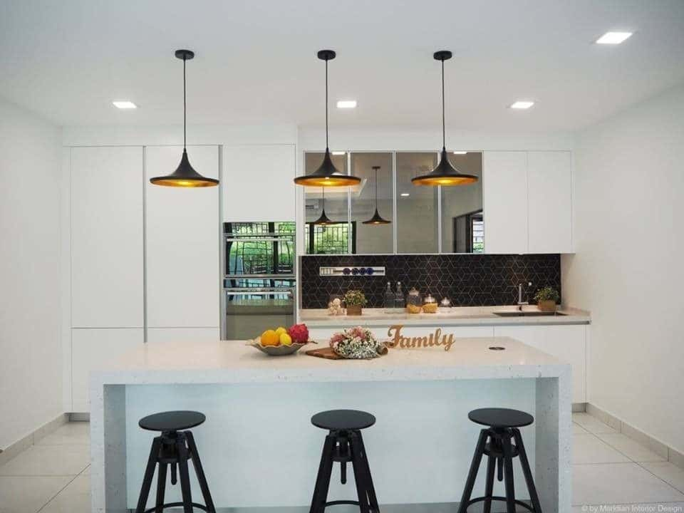 Next To The Dry Kitchen, The Wet Kitchen Is Built As A Kitchen Extension.  The Space Is Clearly Defined As The Floor Tiles Switch From Light Coloured  ...