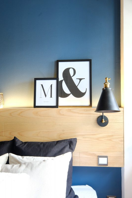 blue and white bedroom design in Bangsar by MIL Design and Construction