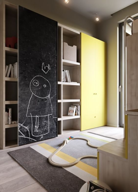 Yellow wardrobe with sliding chalkboard