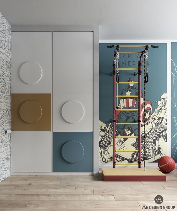 Superhero-themed bedroom wardrobe for two boys