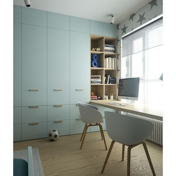 Pastel blue wardrobe for boys bedroom
