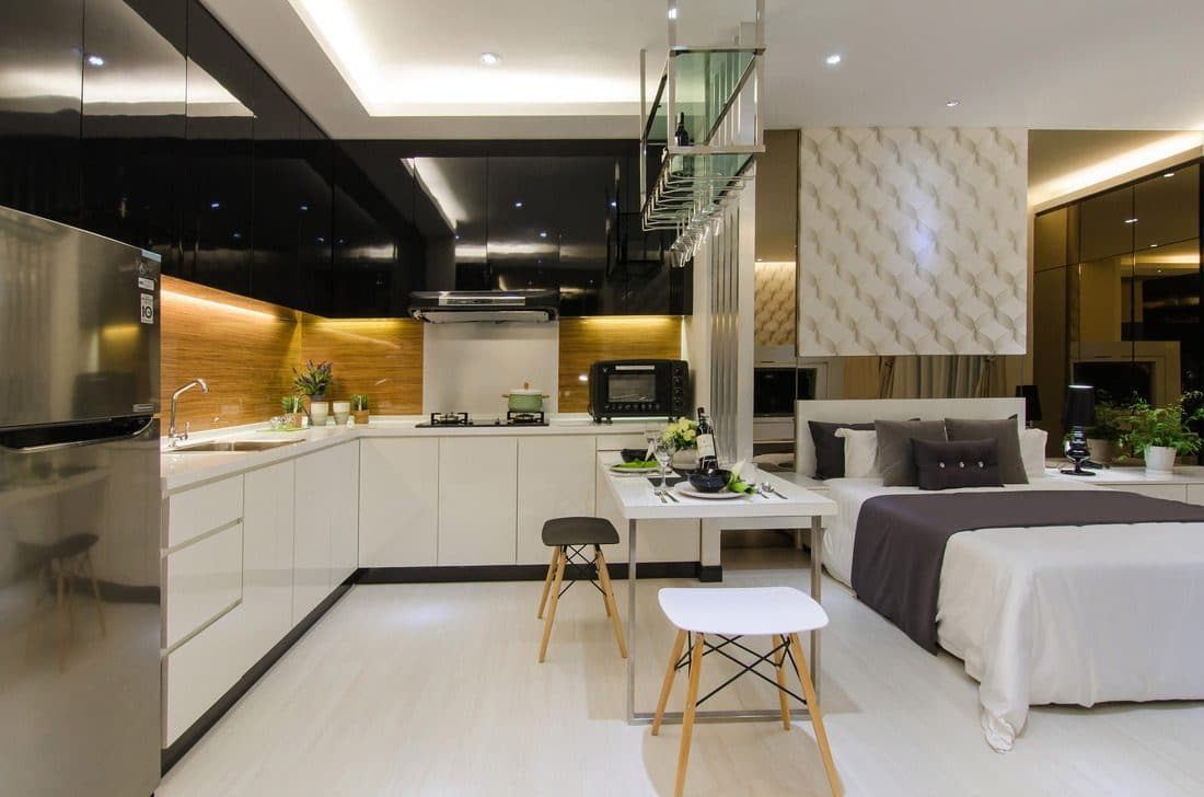 10 Small Apartment Interior Designs Below 800 Sq Ft, 486 sq ft SOHO unit in Symphony Tower, Balakong by MOUS Design