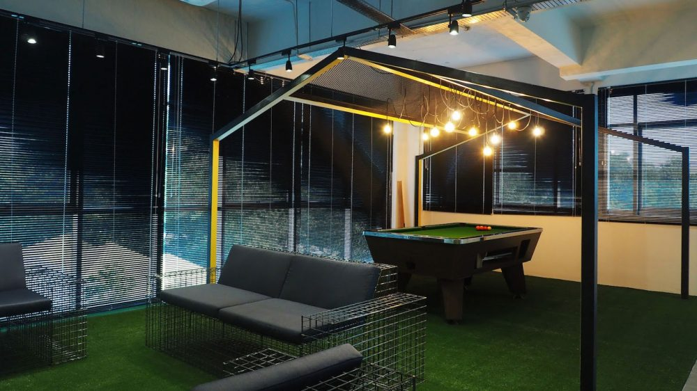 Games room with office pool table at Silverlake office in Taman Sains Selangor. Project by Sachi Interior and EzyOffice