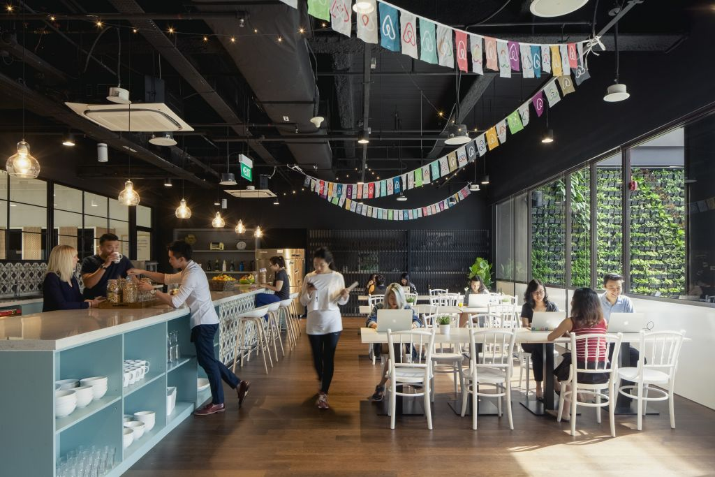 Airbnb's Singapore office includes not one, but three pantries for employees to stay productive and full. Source