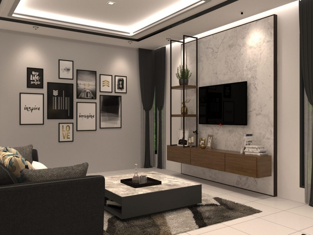 Living area view of contemporary interior design package for Periwinkle 2-storey semi-detached house in Bandar Rimbayu, Shah Alam. Design by Recommend.my