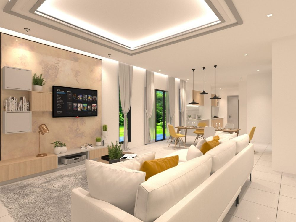 Scandinavian concept interior design package for Periwinkle semi-detached homes in Bandar Rimbayu Shah Alam. Design by Recommend.my