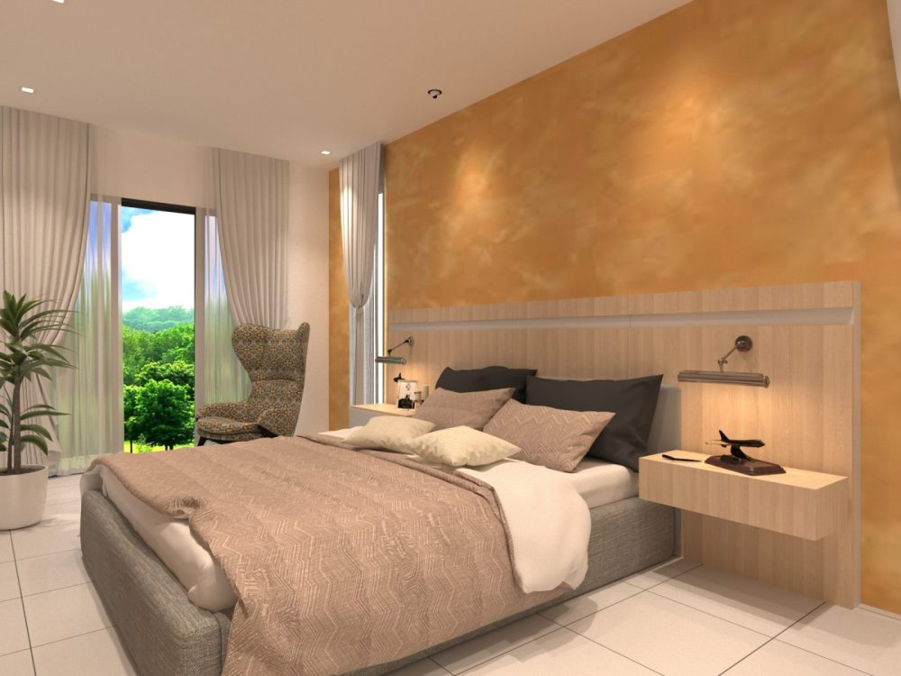 Bedroom Scandinavian interior design package for Periwinkle 2-storey semi-detached house in Bandar Rimbayu, Shah Alam. Design by Recommend.my