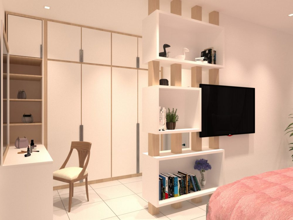 Bedroom cabinetry. Minimalist interior design package for Periwinkle 2-storey semi-detached house in Bandar Rimbayu, Shah Alam. Design by Recommend.my