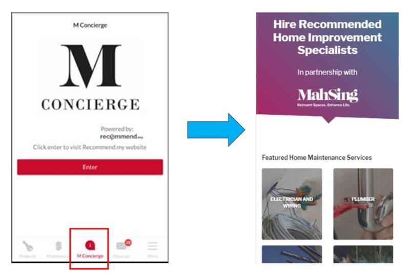 Above: MY Mah Sing mobile app, with M Concierge feature that allows you to request for home improvement services