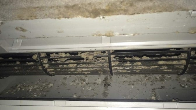 Dirty aircon fins and filter