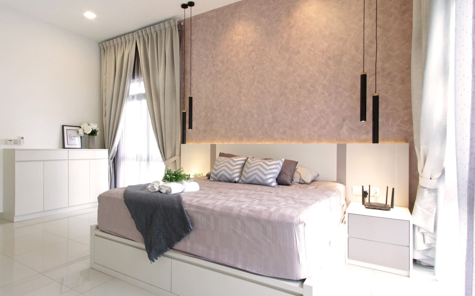 Above: Each of the bedrooms was coated with a different colour to inject some personalisation.