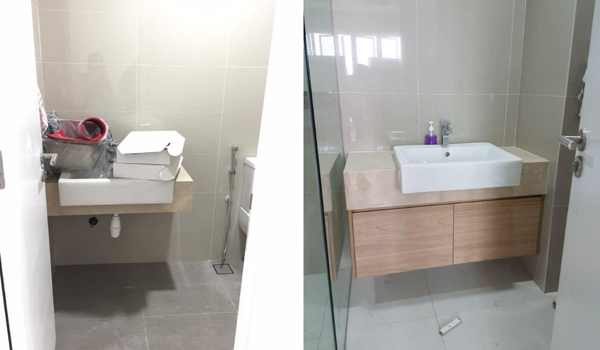 Bathroom cabinet installation at Le Yuan Residence - Kuchai Lama