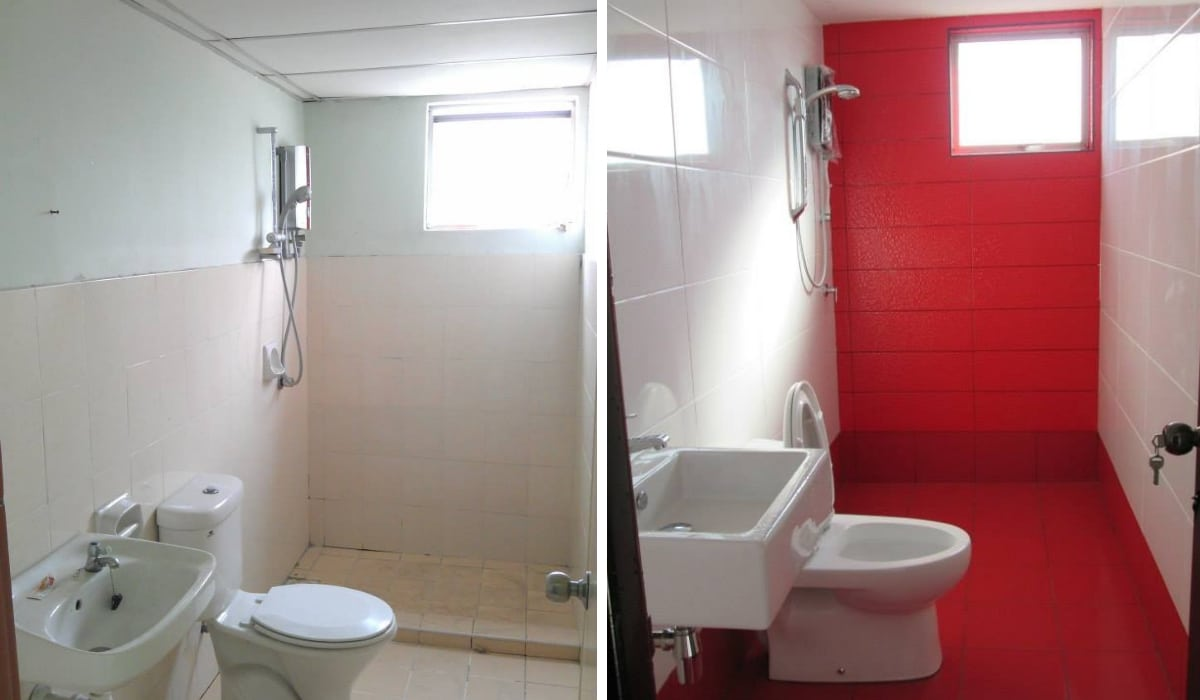 Bold red bathroom in Bayu Puteri Petaling Jaya