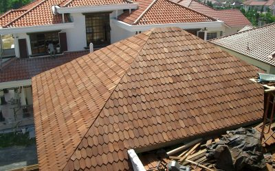 Hexagonal wood shingles give a unique look to this roof of a private bungalow. Source: Orientalhousetop.com