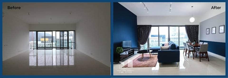 Living room interior design at Reflection Residence, Petaling Jaya by You Home Design