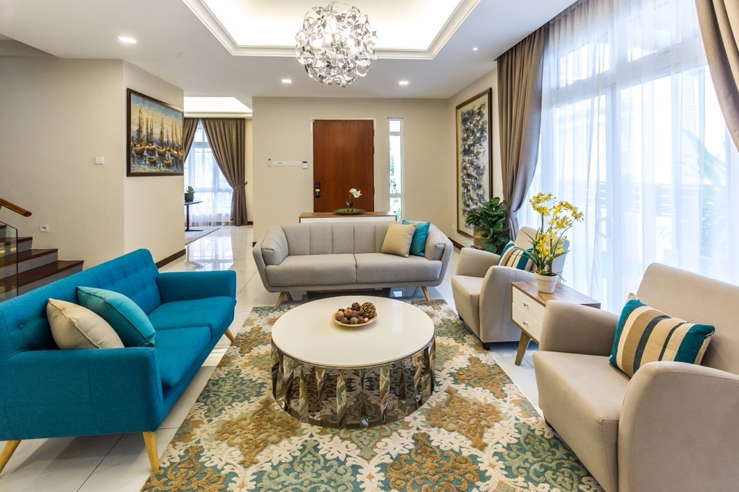 bungalow design with stylish living room in Setia Alam