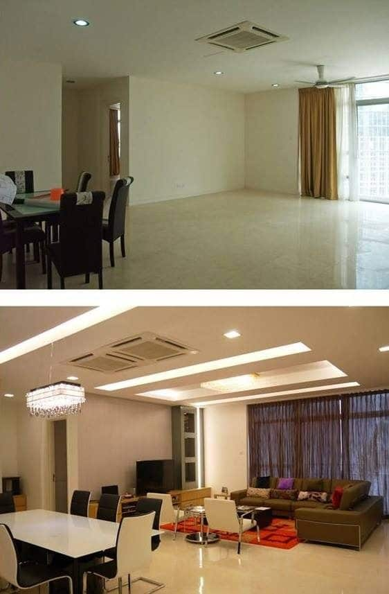 Living room ceiling renovation at Idaman Residence, Kuala Lumpur. Source: AC Design and Construction