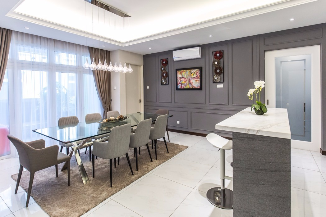 streamlined social area in this bungalow design, Setia Alam