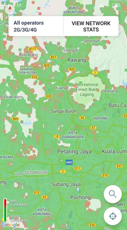 Above: Mobile service coverage map around Klang Valley. The red spots indicate weaker signal strength on average across popular service providers (Digi, Celcom, Maxis, U Mobile, and unifi). Source: OpenSignal (an app that measures mobile signal strength in different locations)