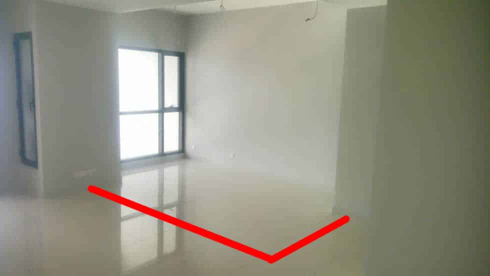 Above: View of the bedroom area. The red line shows location of the planned partition wall