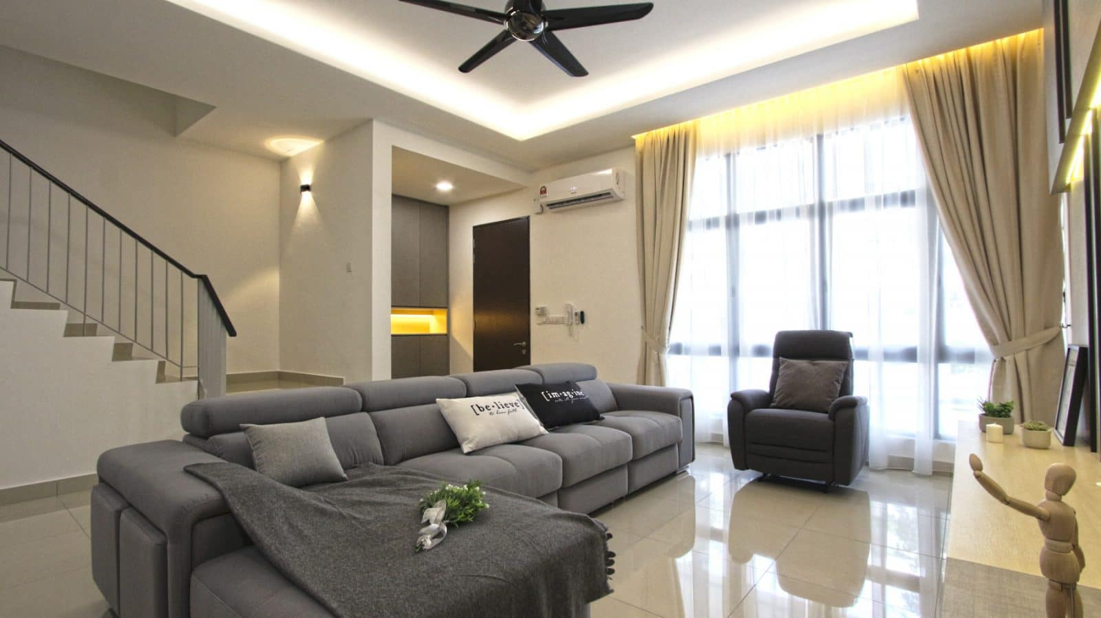 contemporary living design by R.Works. Project is in Southville City, Bangi