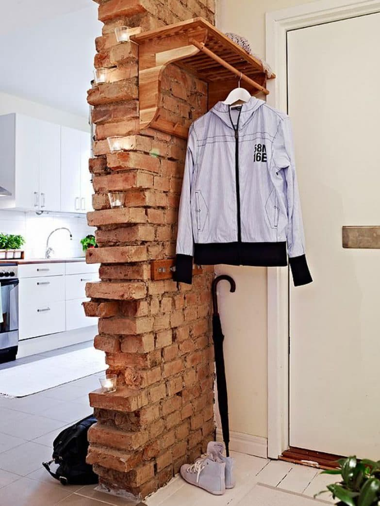 Exposed brick wall partition