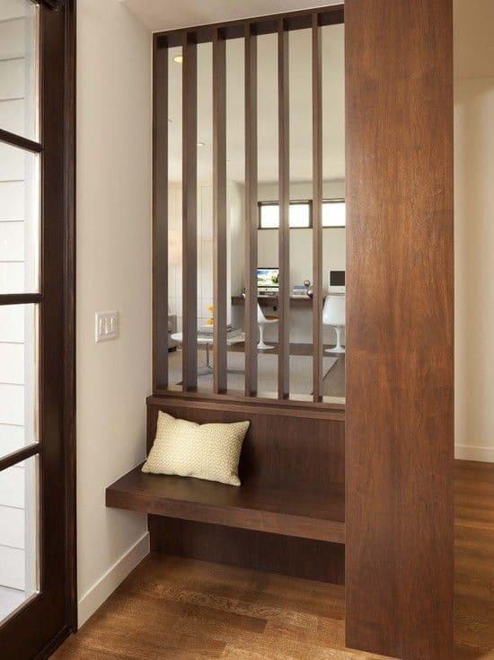 Entrance divider using vertical wooden slats