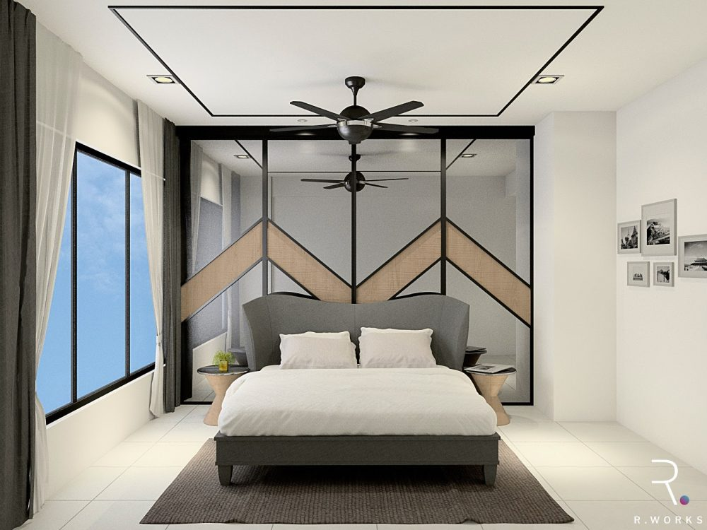 3D design of master bedroom with a bedhead feature wall
