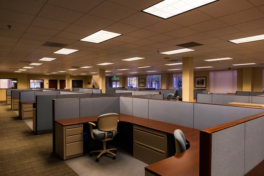 Cubicles in an old-fashioned office design
