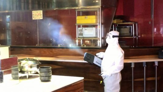 Professional disinfecting fogging being carried out at a karaoke outlet in Malaysia