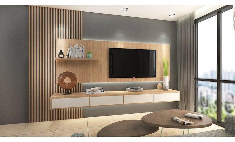 Kabinet TV dinding yang digantung dengan dinding kayu