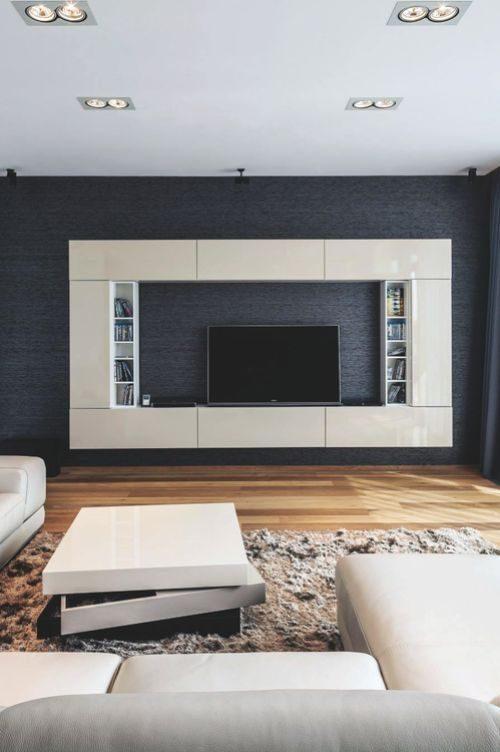 Reka bentuk kabinet TV pasang dinding simetri