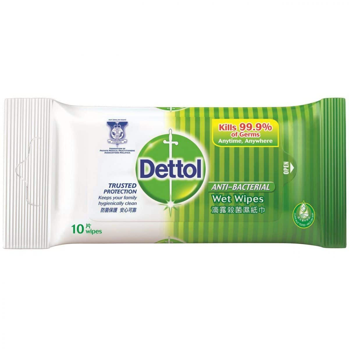 Dettol Anti-Bacterial Wet Wipes for COVID-19 disinfection containing benzalkonium chloride
