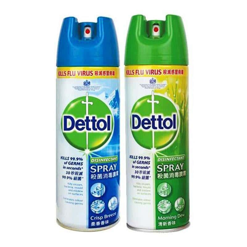 Dettol Disinfectant Spray for COVID-19 disinfection containing ethanol