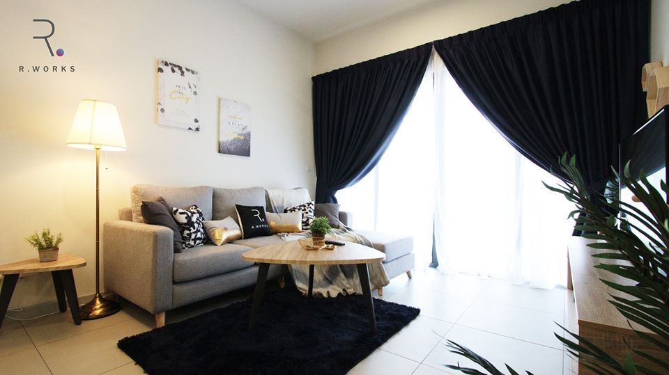 View of the modern chic living room in the Seventeen Residences unit