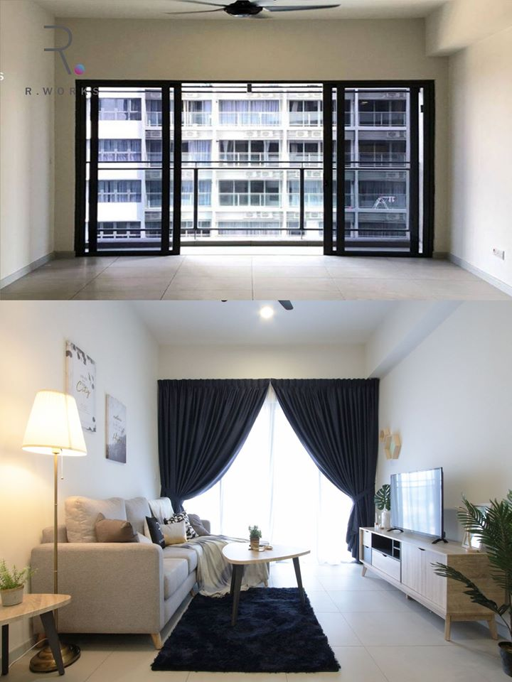 Before and after interior comparison of Seventeen Residences unit