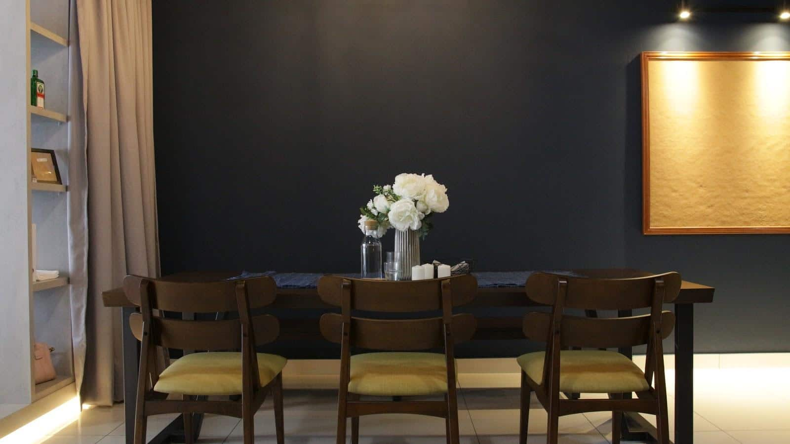 Dark wood dining table that seats six at The Salve, 3 Towers, Jalan Ampang