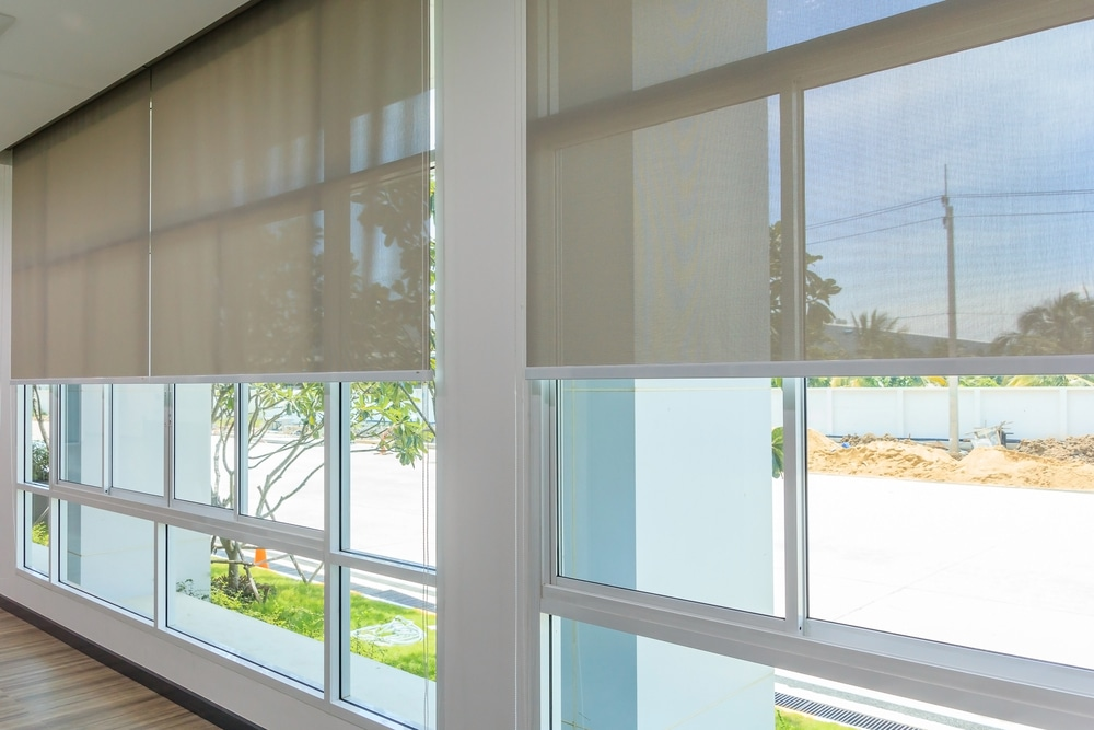 Semi transparent roller blinds for an office space