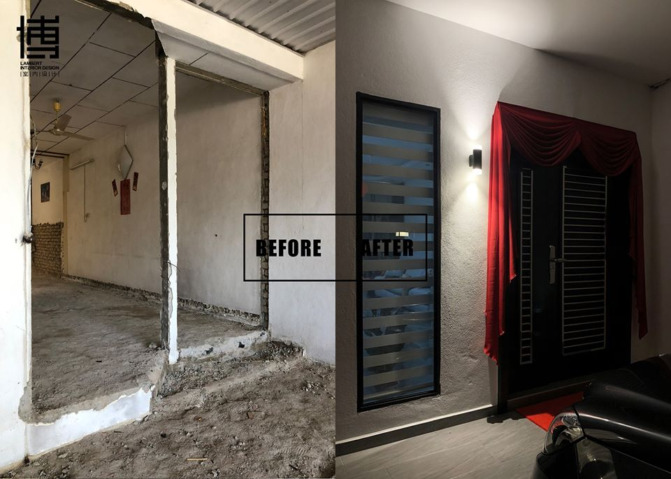 Before after front door renovation in Bukit Mertajam by Lambert Interior Design
