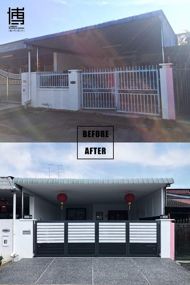 Before after front gate renovation in Bukit Mertajam by Lambert Interior Design