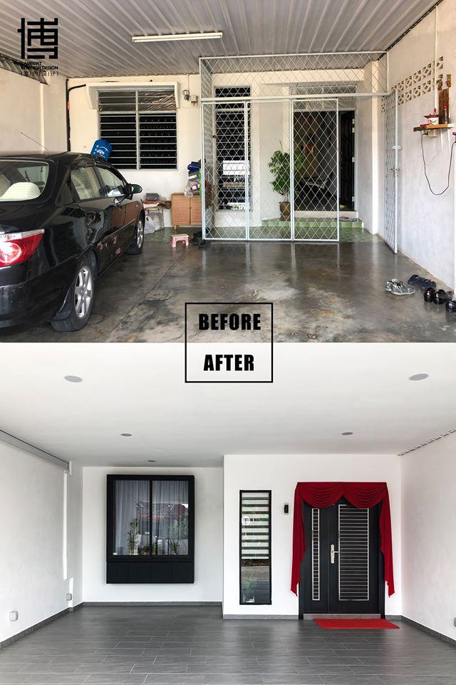 Before after driveway porch renovation in Bukit Mertajam by Lambert Interior Design