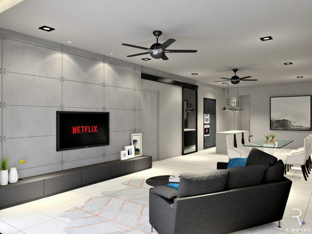 Reka bentuk 3D untuk ruang tamu, ruang makan dan dapur