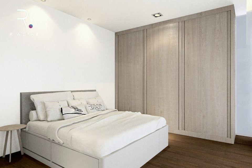 Rumah design modern minimal bilik tidur 3D