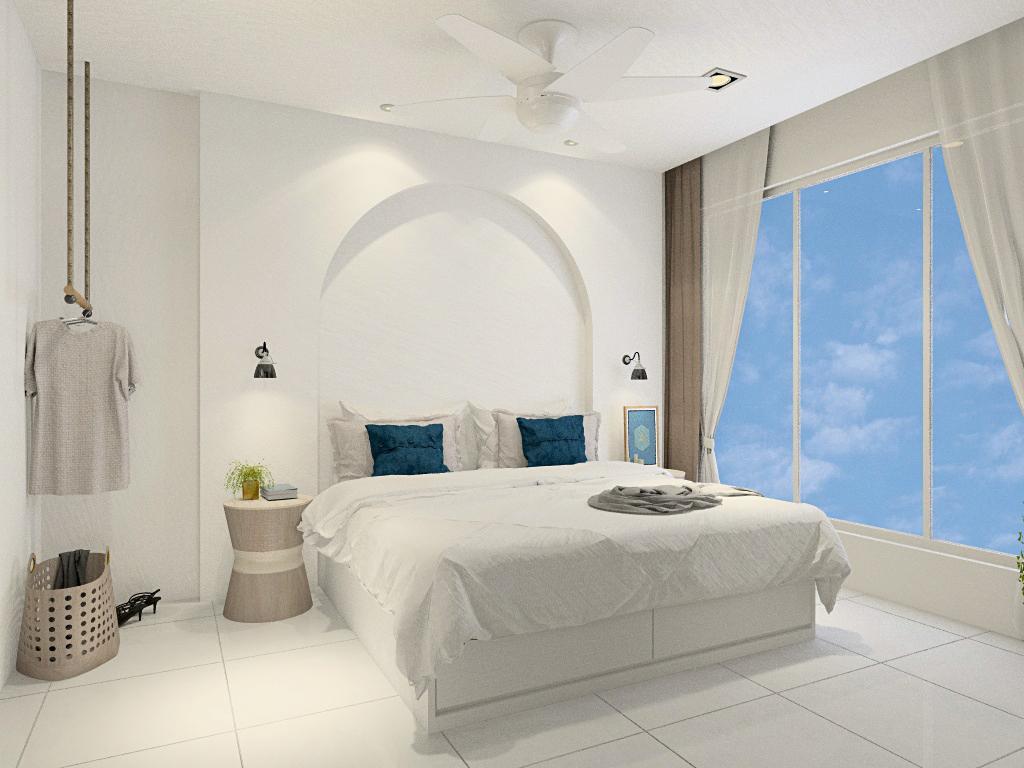 Design bilik tidur dan rumah modern bertema Santorini