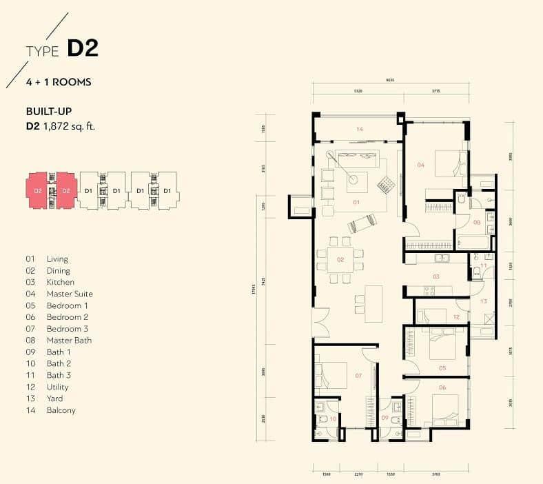 Pelan lantai untuk unit Jenis D2, Harmoni 2 Residence Mont Kiara