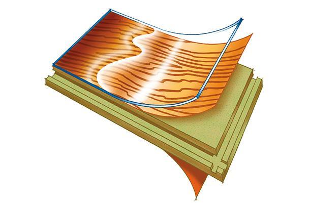 Papan lantai lamina menunjuk lapisan dalamannya
