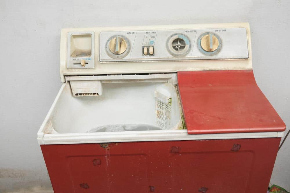 Old outdated washing machines with lack of spare parts