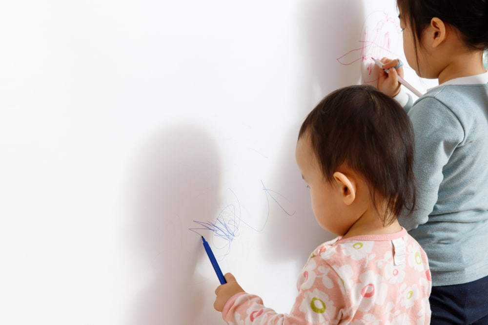Children scribbling on walls